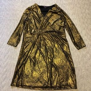 Roamans Gold and Black Long Sleeve Dress